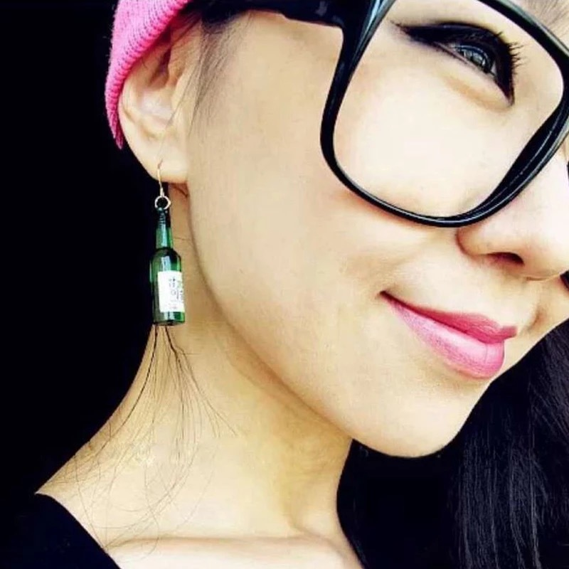 New Style Resin Fake Glass Beer Bottle Dangle Earrings For Women Boucle d 39 oreille Fashion Korean Drop Earring Harajuku Jewelry in Drop Earrings from Jewelry amp Accessories