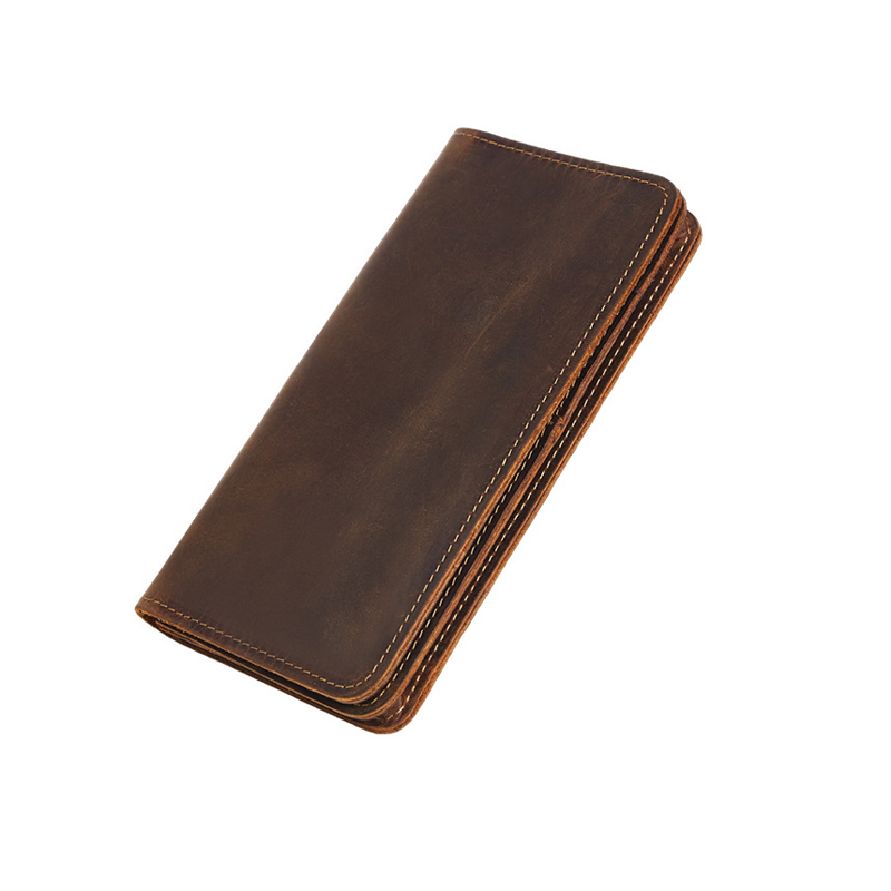 Men's Retro Simply Style Crazy Horse Real Leather Long Wallet Genuine Leather Bifold Purse Male Coin Card Holders