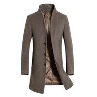 2016 winter mannen wol jas wollen jas lange sectie van dikke wol mannen jas kraag heren winterjas effen kleur WZ199