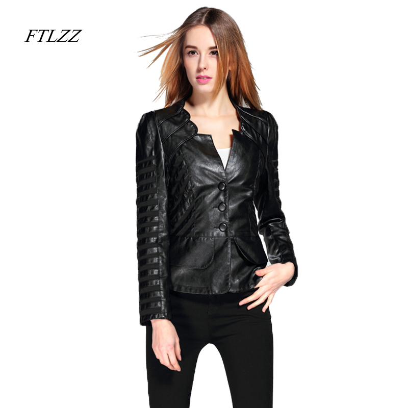 FTLZZ Spring Autumn PU   Leather   Jacket Women Plus Size 4XL Motorcycle Jacket Faux   Leather   Red Biker Coat Patchwork Soft Outwear