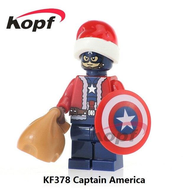 kf378 single sale super heroes merry christmas captain america superman deadpool building blocks model gift toys