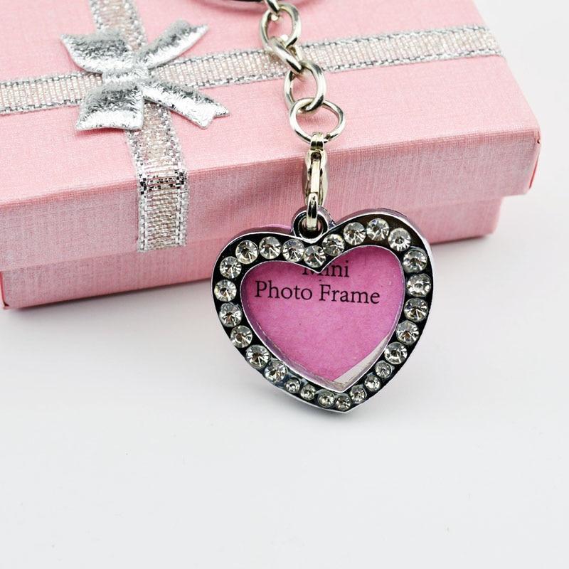 2PCS/LOT Rhinestone pendant  Metal Photo Frame KeyChain DIY key ring Love shape pendant wholesale keyring jewelry bag gift cheap