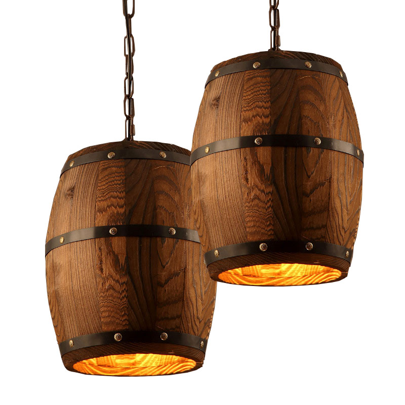 Creative Pendant Lights Lamp Shade, Industrial Vintage Wood Barrel Retro Pendant Lamp Light for Bar Shop Cafe Dining Room Decor loft industrial rust ceramics edison pendant lights vintage retro cafe bar club aisle living room bedroom pendant lamp decor