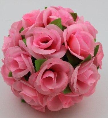 55 см вьющаяся Роза из искусственного шелка(Висячие цветочные шарики для Свадебные украшения - Цвет: Розовый