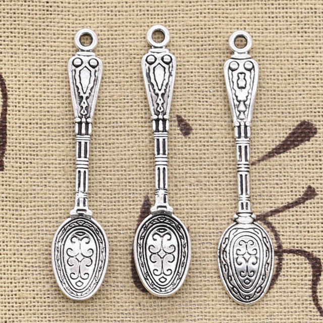 15pcs Charms pattern spoon 48x10mm Antique Silver Plated Pendants Making DIY Handmade Tibetan Silver Jewelry