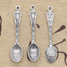 15pcs Charms pattern spoon 48x10mm Antique Silver Plated Pendants Making DIY Handmade Tibetan Silver Jewelry(China)