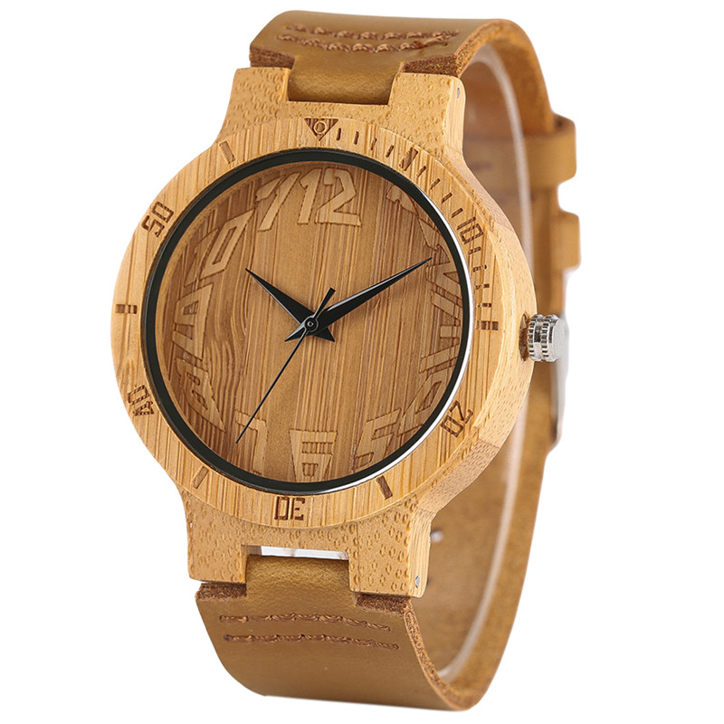 Creative Bamboo Quartz Watches Genuine Leather Band Men Wristwatch Bangle Nature Wooden Analog Watch Novel Casual Clock Gift creative wooden bamboo wrist watch genuine leather band strap nature wood men women quartz casual sport bangle new arrival gift