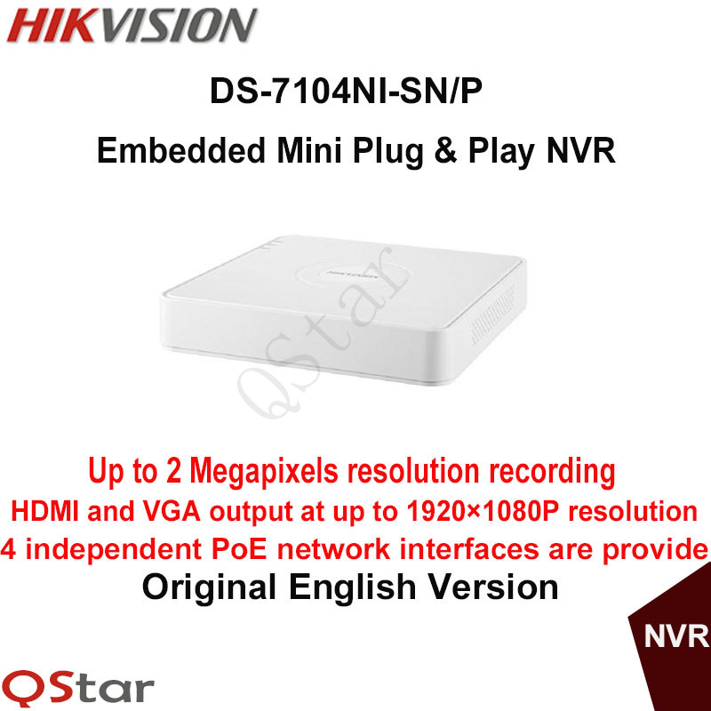 Hikvision Original English Version DS-7104NI-SN/P 4-ch Embedded Mini Plug&Play NVR With 4POE H.264 Up to 2MP original english version nvr ds 7104ni sn p 4ch mini nvr 4ch poe network video recorder hd 1080p nvr work well with h 265 ipc