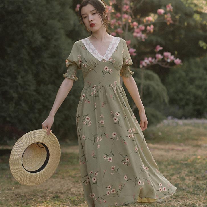 Victorien français Vintage longue robe imprimer dentelle col en v Bandage Maxi robe d'été dames femme robe d'été