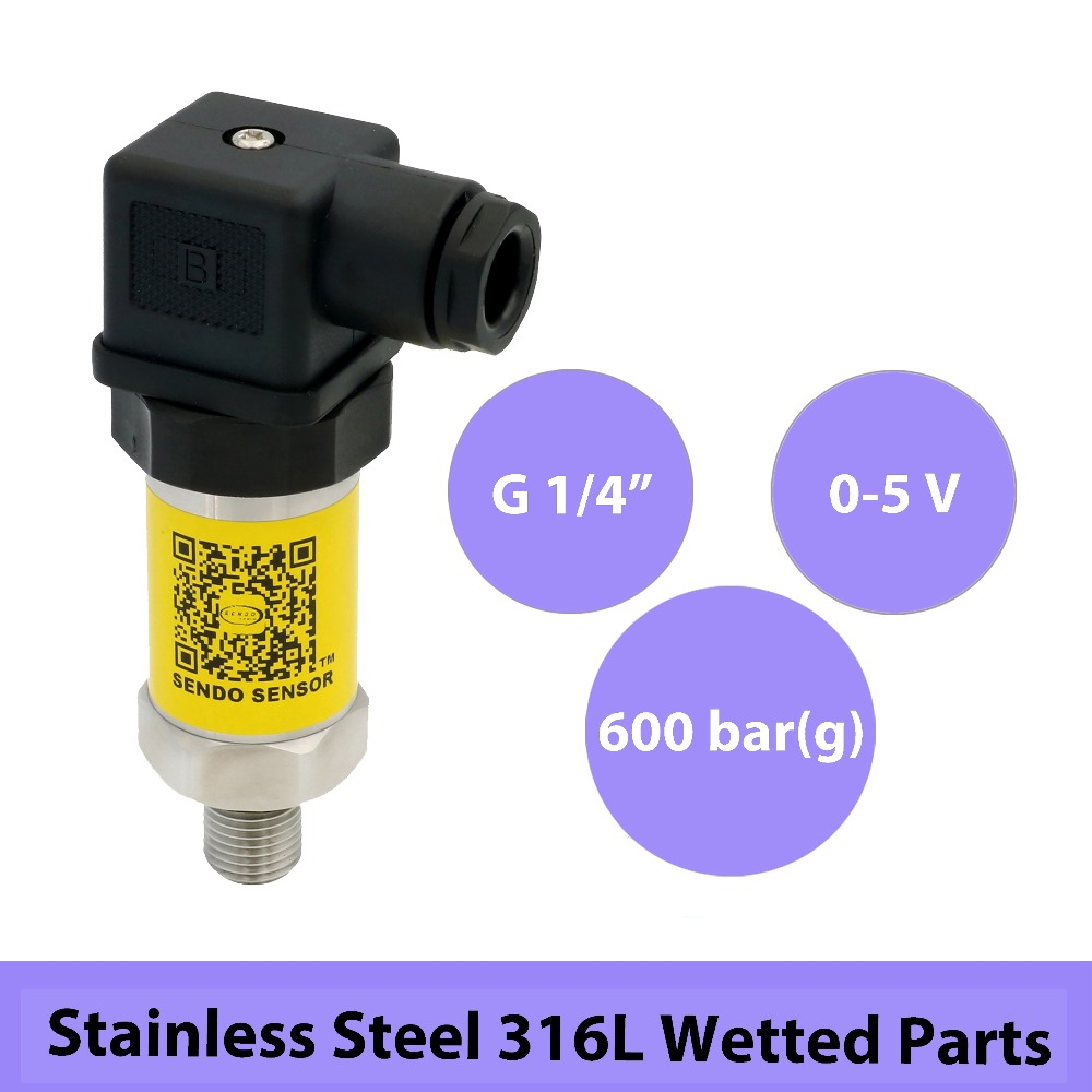 pressure sensor transducer 0 5V, 12-30V supply, 0 600bar/60Mpa, g 14 in thread, 0.5% accuracy, stainless steel 316L wetted partspressure sensor transducer 0 5V, 12-30V supply, 0 600bar/60Mpa, g 14 in thread, 0.5% accuracy, stainless steel 316L wetted parts