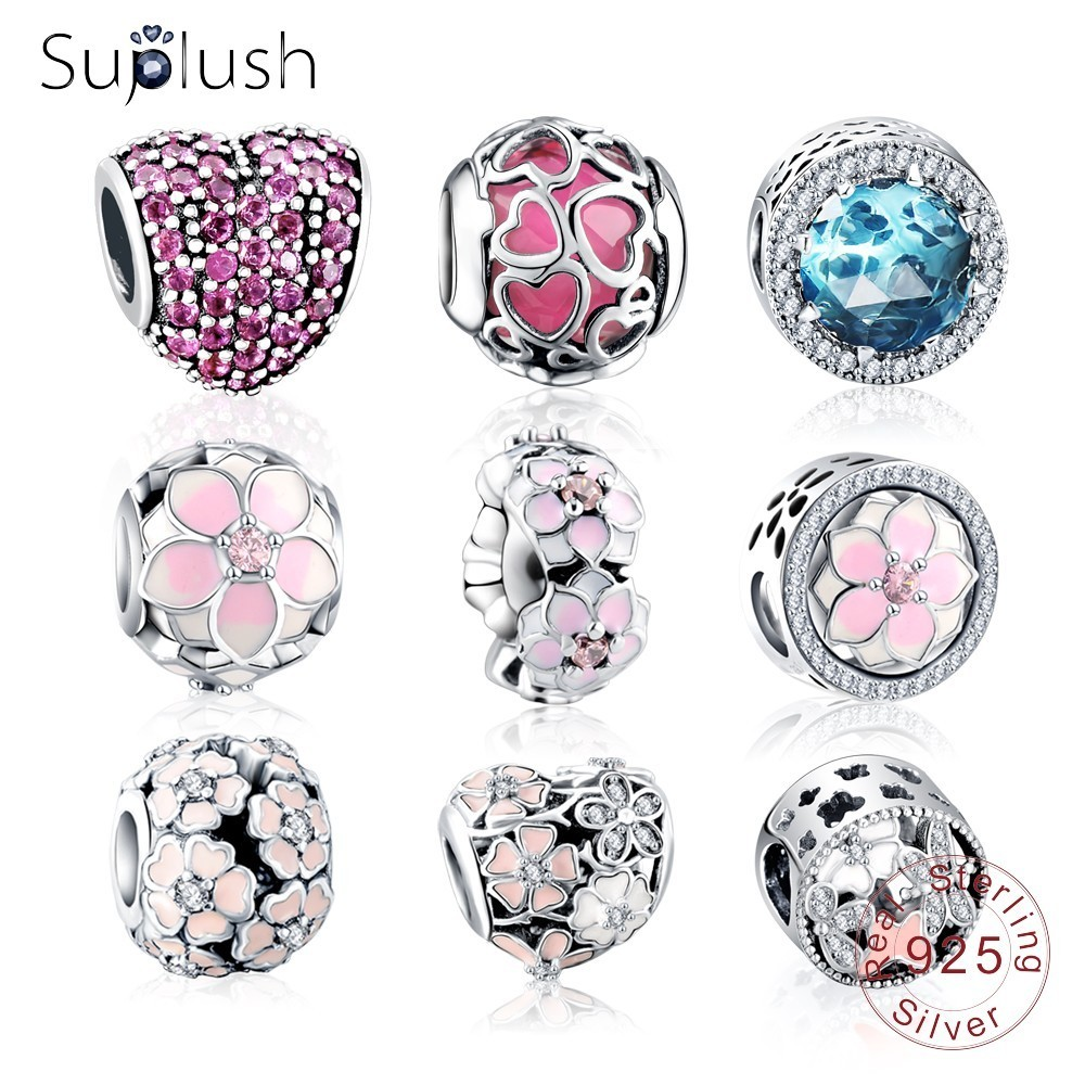 Suplush Authentic 925 Sterling Silver Colorful Charms Beads Fit Original Pandora Bracelet Silver Jewelry DIY Accessories