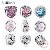 Suplush Authentic 925 Sterling Silver Colorful Charms Beads Fit Original Pandora Bracelet Silver Jewelry DIY Accessories Beads