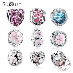 ca32afc4117e Suplush Authentic 925 Sterling Silver Colorful Charms Beads Fit Original  Pandora Bracelet Silver Jewelry DIY Accessories