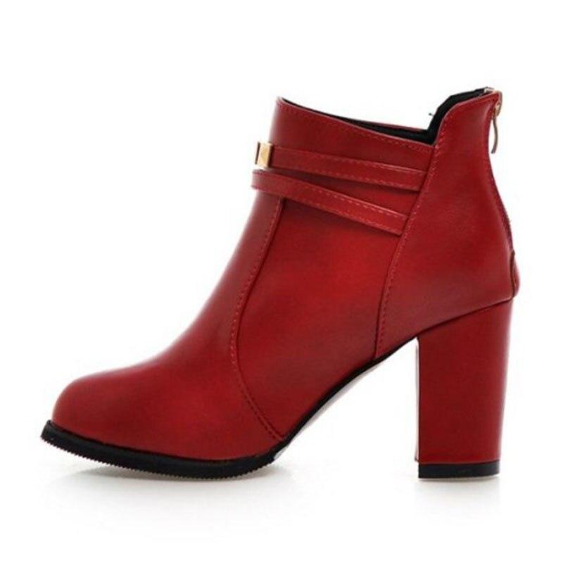 Plus 30 Sexy Tacón 50 Moda Botas Tamaño Grueso De Envío Corta Caída Mujer Zapatos rojo Coolcept Tobillo Remaches Negro Fqpwq