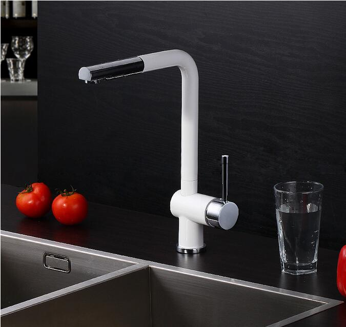 2015 Pull Out Kitchen Faucet White Spray Lacquer Kitchen Faucet German Quakity Kitchen Tap Mixer Tap Torneira Cozinha