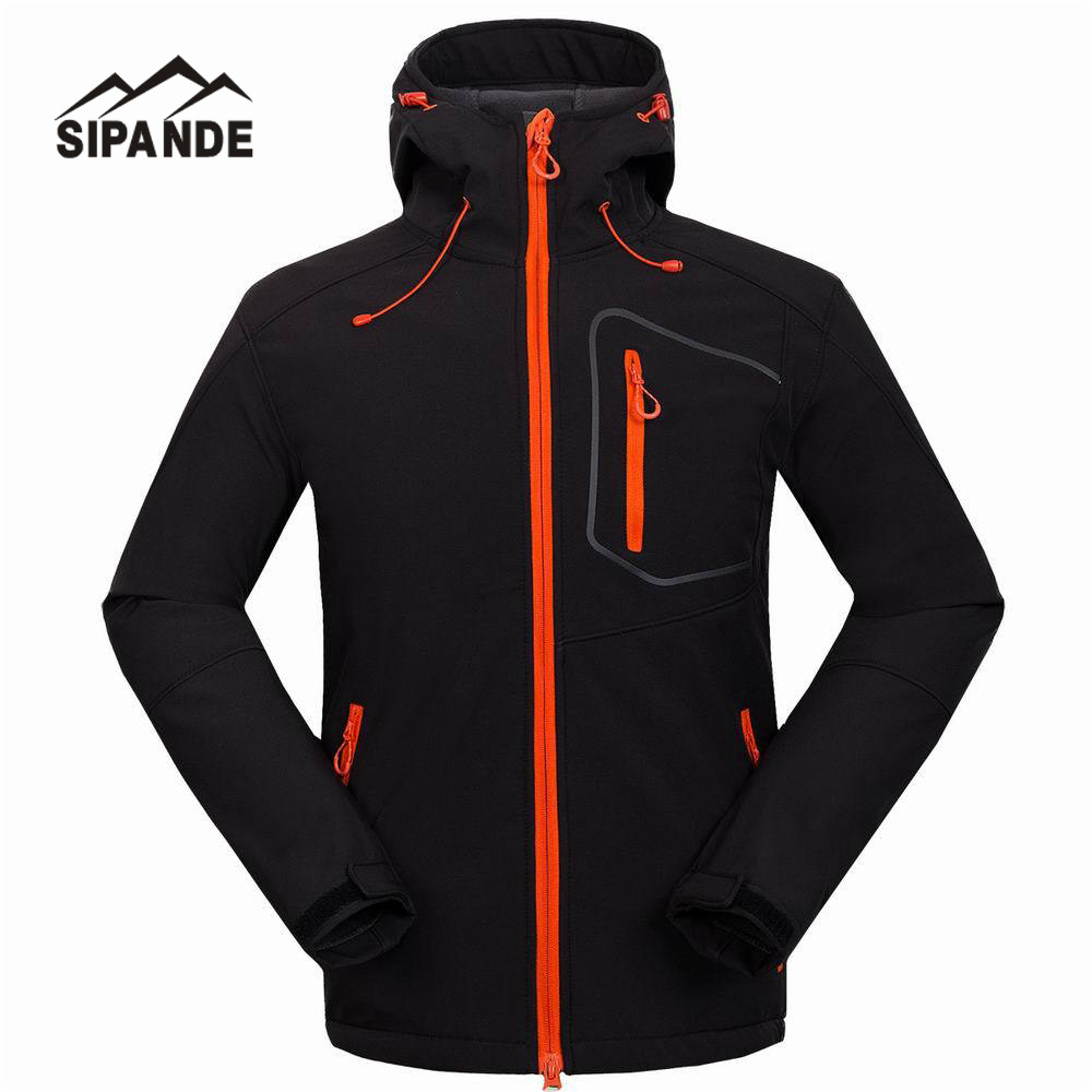 цена Waterproof Hooded Softshell Jacket Men Mammoth Hiking Clothing Thermal Tech Fleece Ski Fishing Climbing Clothes