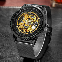ORKINA Men Fashion Wristwatches Men Skeleton Watches Stainless Steel Mesh Band Automatic Mechanical Watch Relogio Masculino 2019