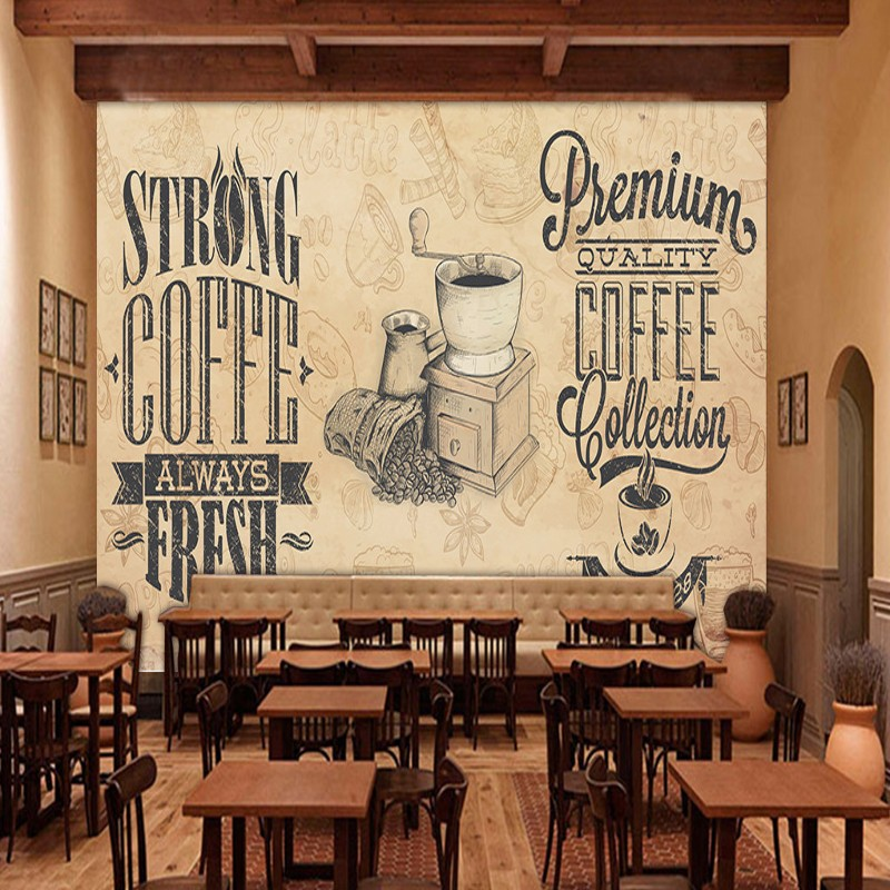 Custom photo wallpaper Retro Nostalgic Coffee Mural Cafe Restaurant Kitchen Custom Mural Lounge decoration painting custom photo wallpaper 3d retro wheel imitation brick wall wallpaper mural bar restaurant lounge hotel wallpaper