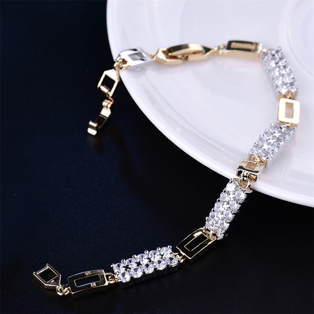 Double Layer Cubic Zirconia Link Chain Bracelet