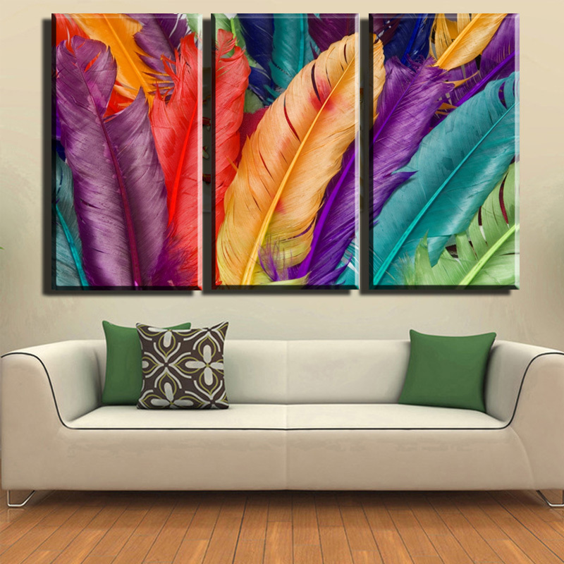 3 pieces unframed fresh look color feather oil painting on canvas flower decorative printed wall art picture fashion home decor