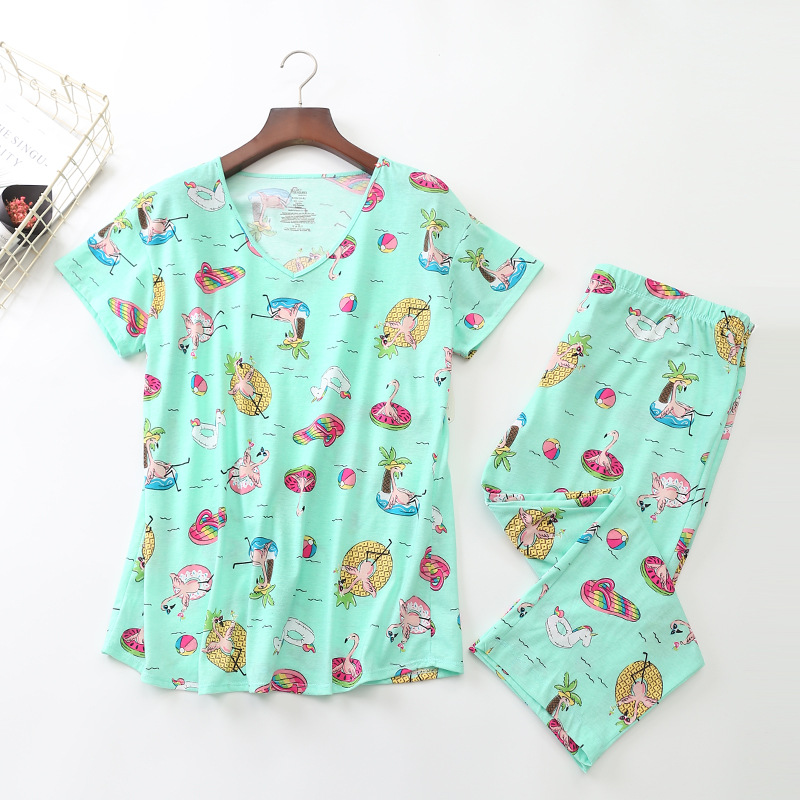 2019 Summer Women   Pajamas   Cotton Print Green Animal   Pajama     Set   Top + Capris Elastic Waist Plus Size 3XL Lounge pijamas S92001