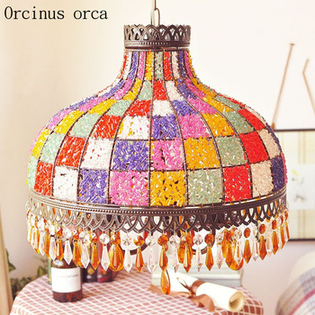 Bohemia colorful hand woven chandelier living room bedroom Mediterranean colorful Southeast Asia crystal chandelier