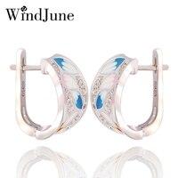 WindJune Enamel Stud Earring voor Vrouwen 925 Silver Earring Zirconia Boho Sieraden Pendientes Largos dames oorbellen bohemien