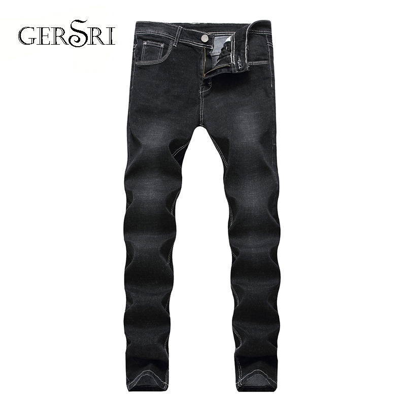 Gersri Mens Jeans Trendy Stretch Black Denim Men Slim Fit Jeans Trousers Pants Size 30 32 34 35 36 38 40 42 Jean