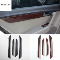 4pcs/lot ABS carbon fiber or wooden grain four Interior doors decoration cover for 2012 2015 Volkswagen VW Passat B7