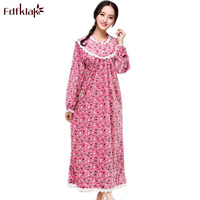 Fdfklak Women's Nightgowns Sleepwear Princess Spring Autumn Long Sleeve Print Cotton Nightgowns Women Plus Size M XXL Q571