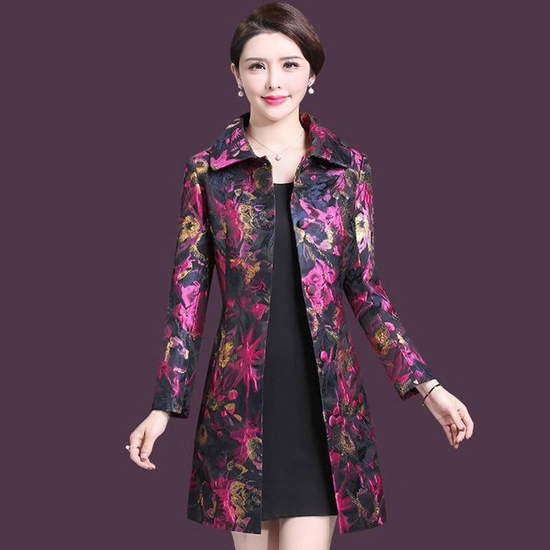 Dobby Femme Fleur Décontracté Manteau Trench coats Automne Femmes 2019 D'or Printemps De Motif 4xl Mode Mince gAYHwSaq