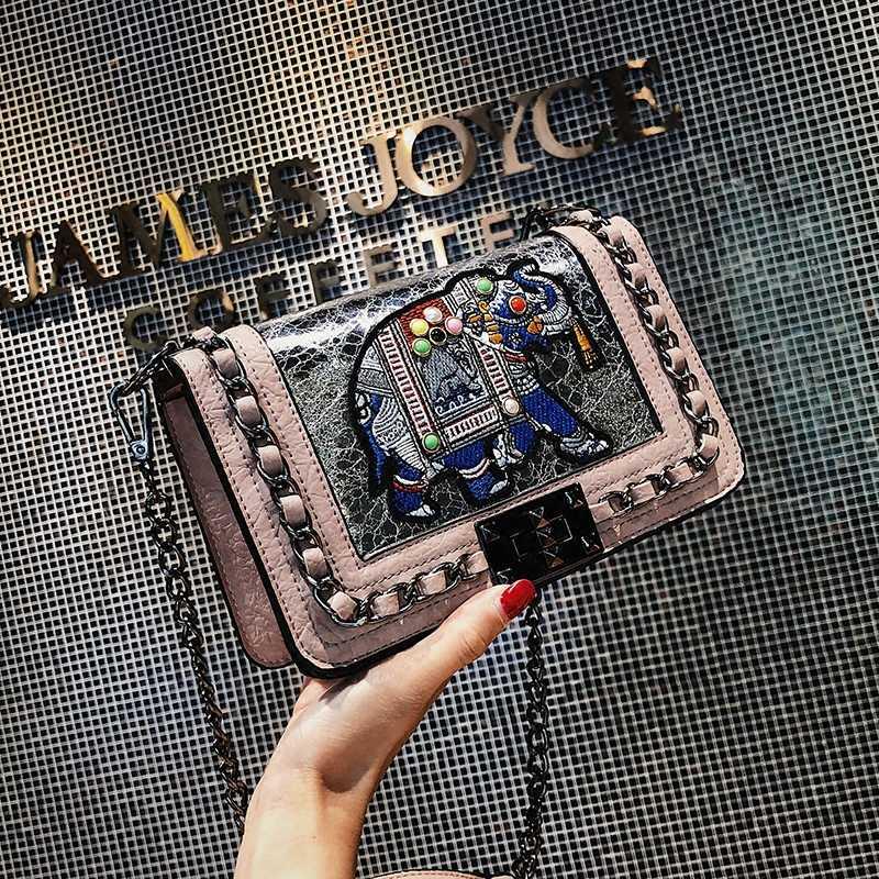 ETAILL летнее перламутровое слон вышитые сумка на цепочке, Женский люксовый бренд сумки 2018 из лоскутов из искусственной кожи через плечо сумка женская через плечо сумка