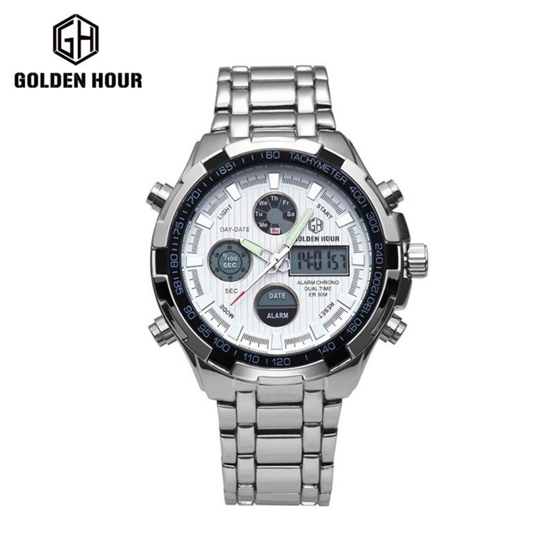 Top Brand Luxury Men s Sports Watches Full Steel Golden IPS Plating Waterproof Alarm Date LED
