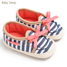 Fashion Baby Shoes 2017 Bebe Sneakers Baby Boys Girls Prewalker Bow Crib Shoes Baby Mary Jane Cute Newborn Baby Stirped Shoes