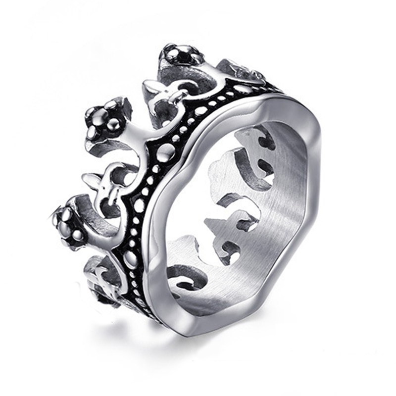 The King Crown Ring for Men Quality Titanium Steel Ring Mens Vintage Ring Wholesale Never Fade or Rust Ювелирное изделие