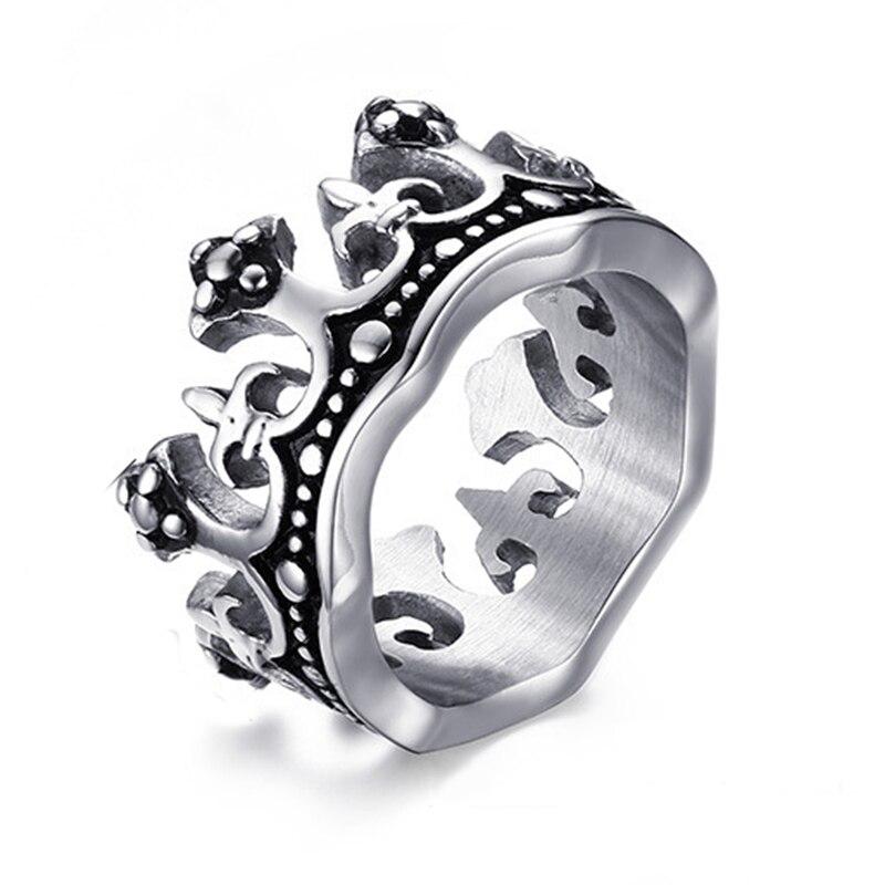 bastante agradable c542b 1b4e8 Anillo de la corona del Rey para hombres, anillo de acero de titanio de  calidad, anillo Vintage para hombres, al por mayor, nunca se decolora ni se  ...