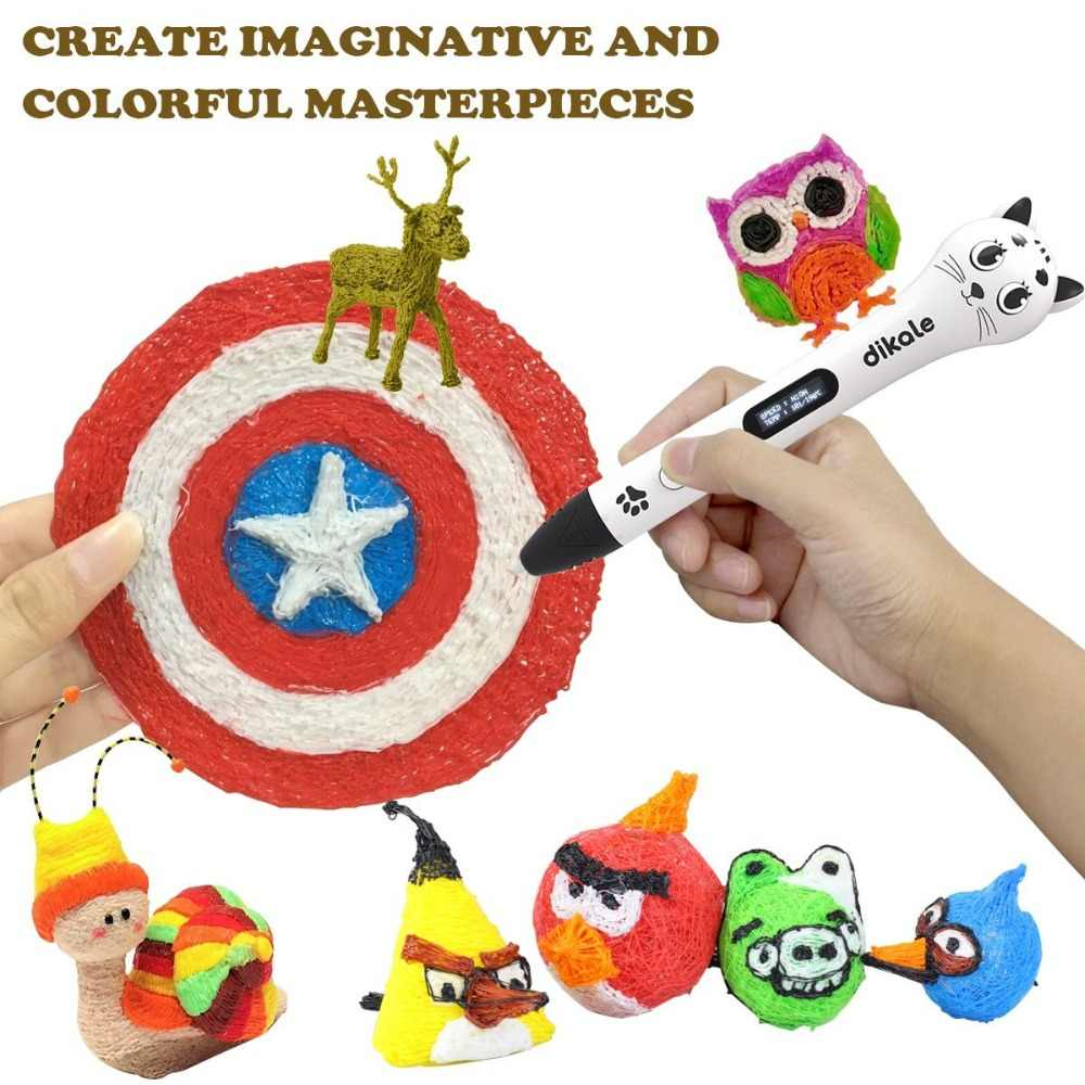 Dikale-Bolígrafo de dibujo 3D, Impresora con bonito diseño de gato USB OLED 3D, bolígrafo de impresión, lápiz de seguridad con filamento gratuito para regalo DIY