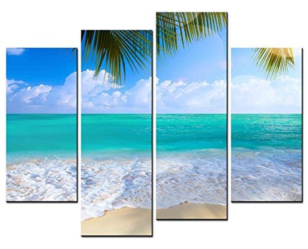 f3ae9f018 4 panel moderno impreso paisaje marino pinturas Blue Ocean lienzo para la  sala para la decoración de la Oficina