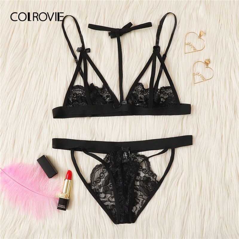 COLROVIE Black Harness Cut Out Lace Sexy Intimates Women Lingerie   Set   With Thong 2019 Wireless Transparent Underwear   Bra     Set