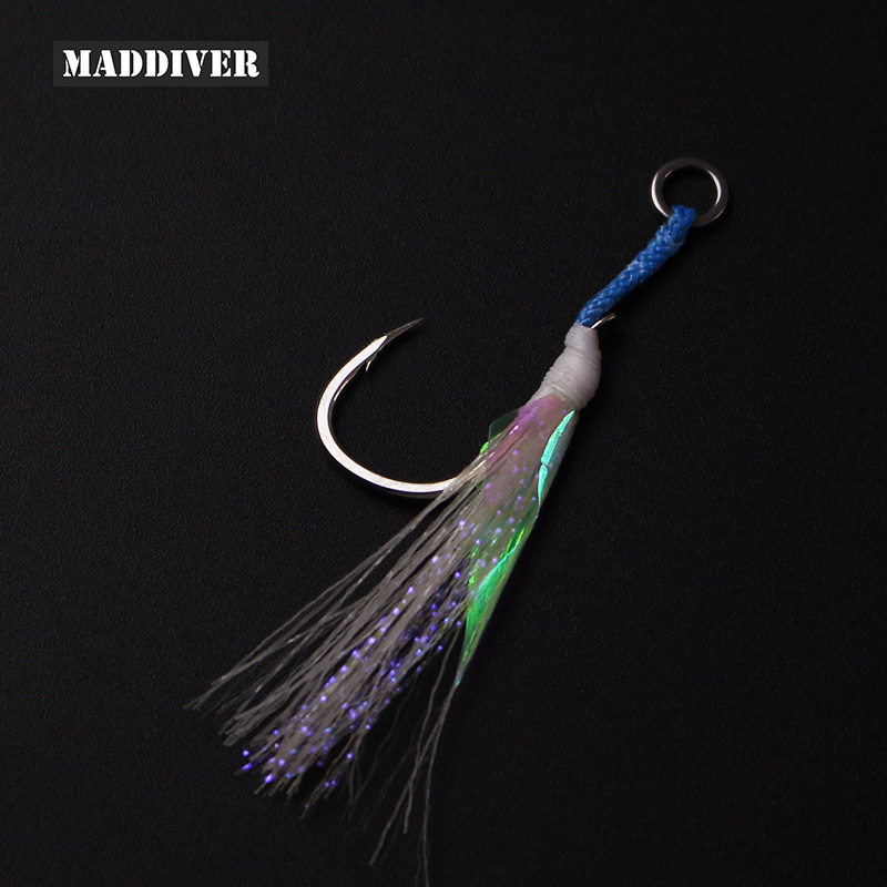 #2 #1 1/0 2/0 4/0 Rigged High Carbon Steel Single Hook Slow Jigging Lures Skirt Night Glow Assist Hooks Saltwater Fishing hooks