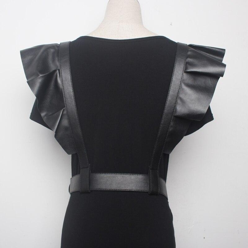 50ea7a2063 2019 New Fashion Black PU Leather Flounced Waist Corset For Ladies ...