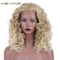AISI African Siyah Kadınlar için SAÇ Sentetik Dantel Ön Peruk Uzun Sarışın Afro Kinky Kıvırcık Saç