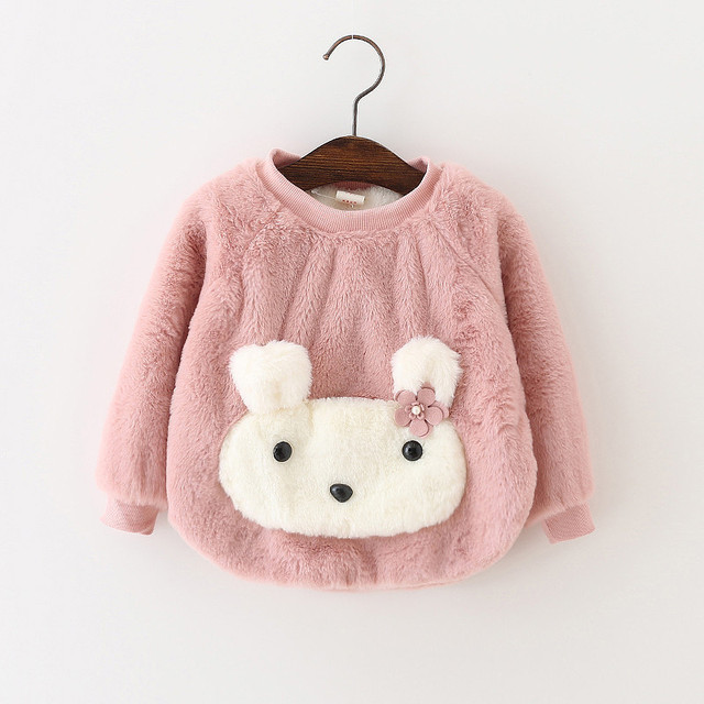 DFXD Toddler Girls Clothes Kids Sweatshirts Cartoon Cotton Long Sleeve Thick Winter Pullover Top Baby Sweatshirt For Little Girl