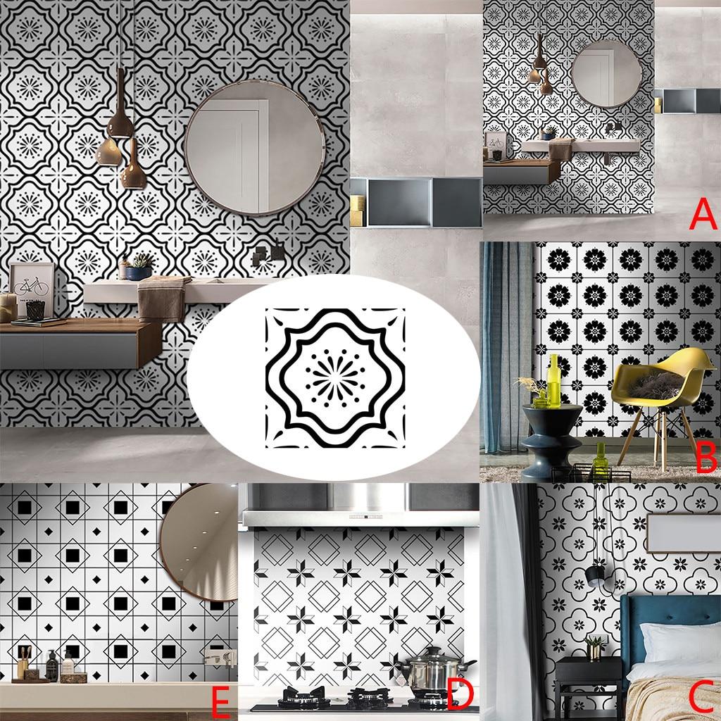 Tile Sticker Self-Adhesive Geometric White-Style Floor Black 45-
