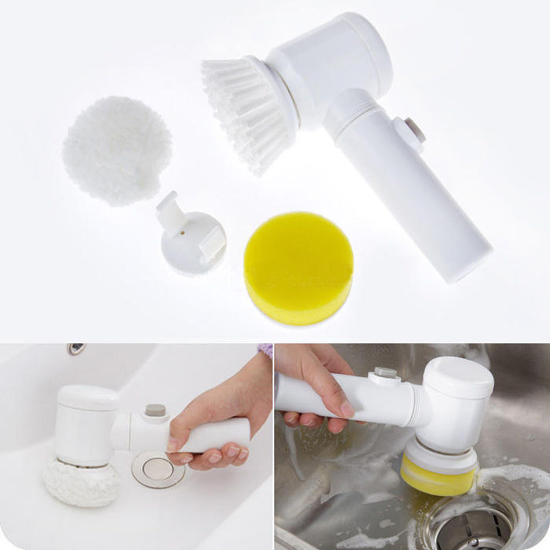 White 5in1 Multifunction Electric Cleaning Brush Bathroom Window Cleaner Scrubber Tool