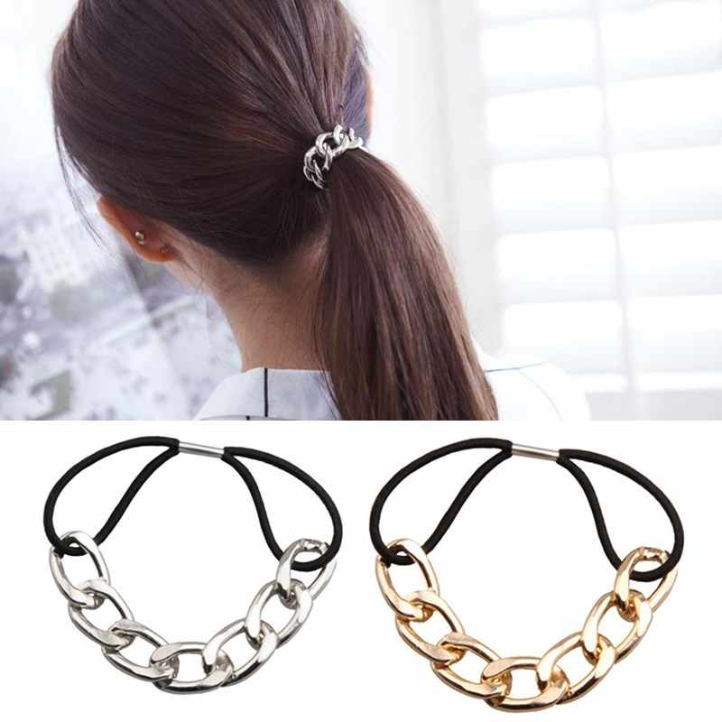 LNRRABC Punk hair bands Gold Silver Color Woman Elastic Hair Band Rope Ties  Metal Ponytail Holder 9d6bf2be2961