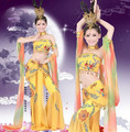 Traje de la danza popular chino de la danza popular chino tradicional traje de diosa antiguos trajes chinos amarillo ropa de bailarina