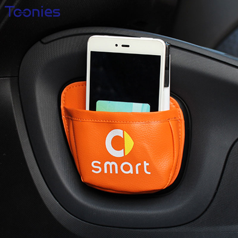 Smart Fortwo Forfour Car Mobile Phone Sundries Card Stroage Bag Mesh in the Trunk Organizer Stick Bag Car-styling Ornament