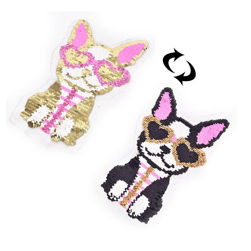 1 Pcs Rosa Herz Gläser Hund Reversible Pailletten Patches Applique Für T-shirts Jacken Diy Kleidung Nähen Zubehör Attraktive Mode