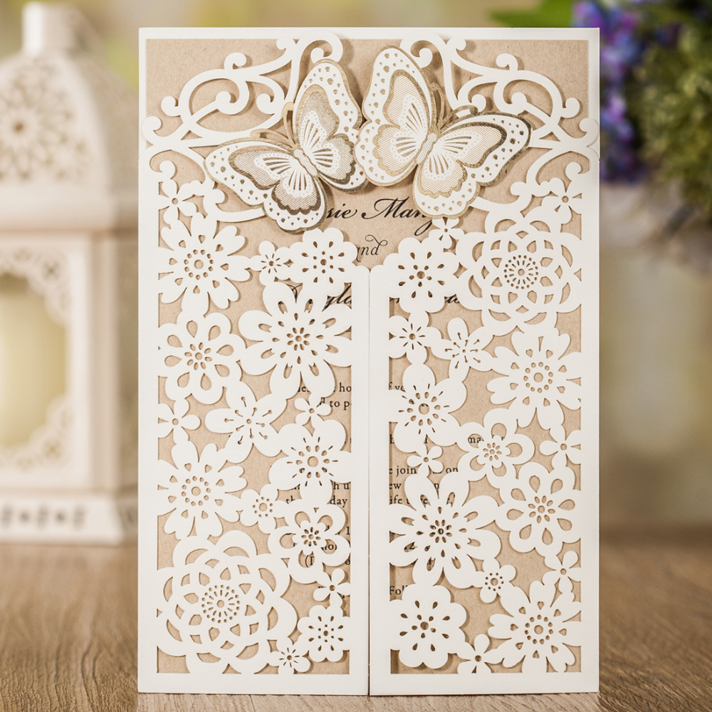 Wishmade Royal Gold Laser Cut Wedding Invitations Cards With Embossed Hollow Flora Crown for Bridal Shower CW7511